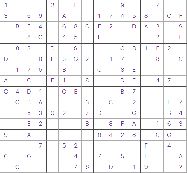 photo relating to 16 Square Sudoku Printable named Every day 16×16 Large Sudoku for Wednesday 25th September 2019