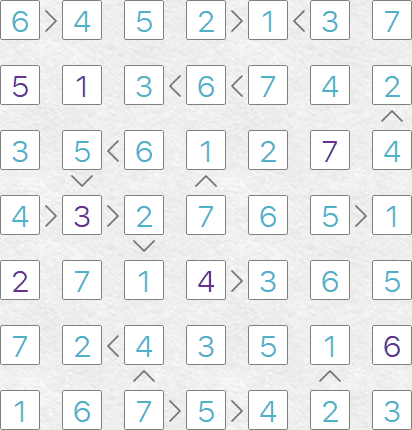Futoshiki puzzle solution