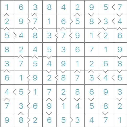 Greater Than Sudoku puzzle solution
