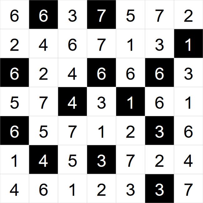 Hitori puzzle solution
