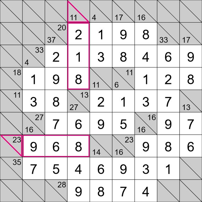 Kakuro puzzle solution