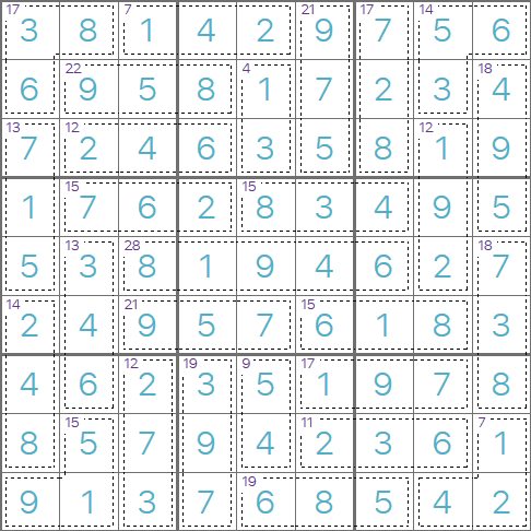 Killer Sudoku puzzle solution