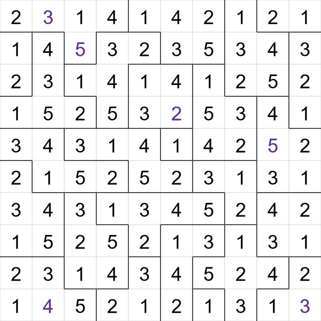 Suguru puzzle solution